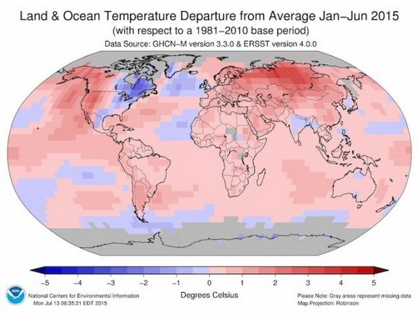 Năm 2015 phá vỡ kỷ lục về nhiệt độ Trái đất trong lịch sử